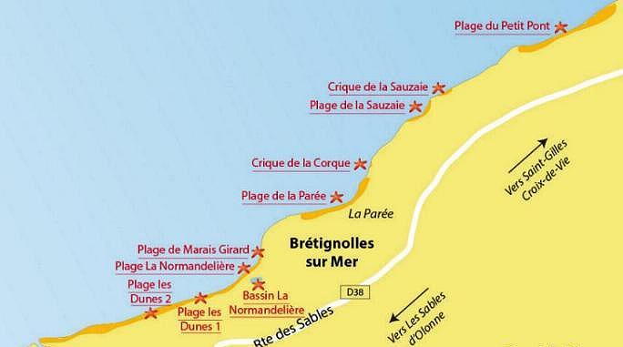 Carte plages bretignolles sur mer vendee bis 3
